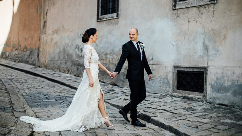 Gorgeous city wedding on the river Danube